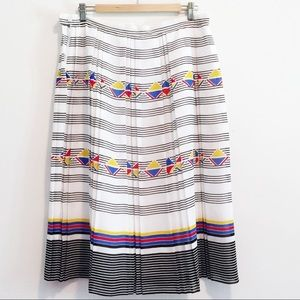 Vintage pleated A-line midi skirt geometric stripe